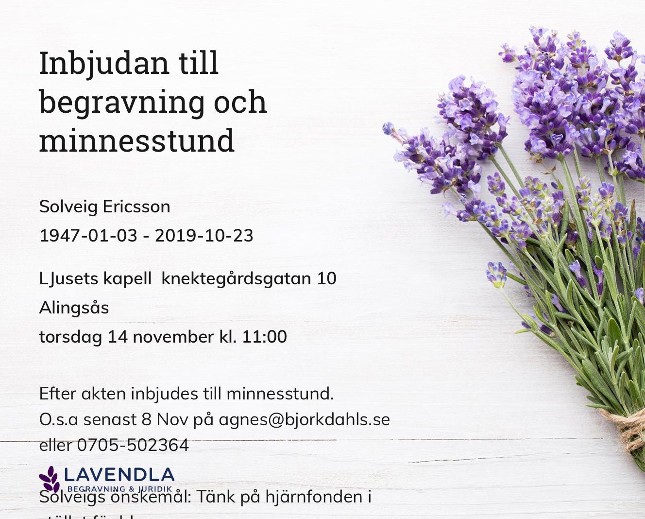 Inbjudningskort till ceremonin för Solveig Ericsson