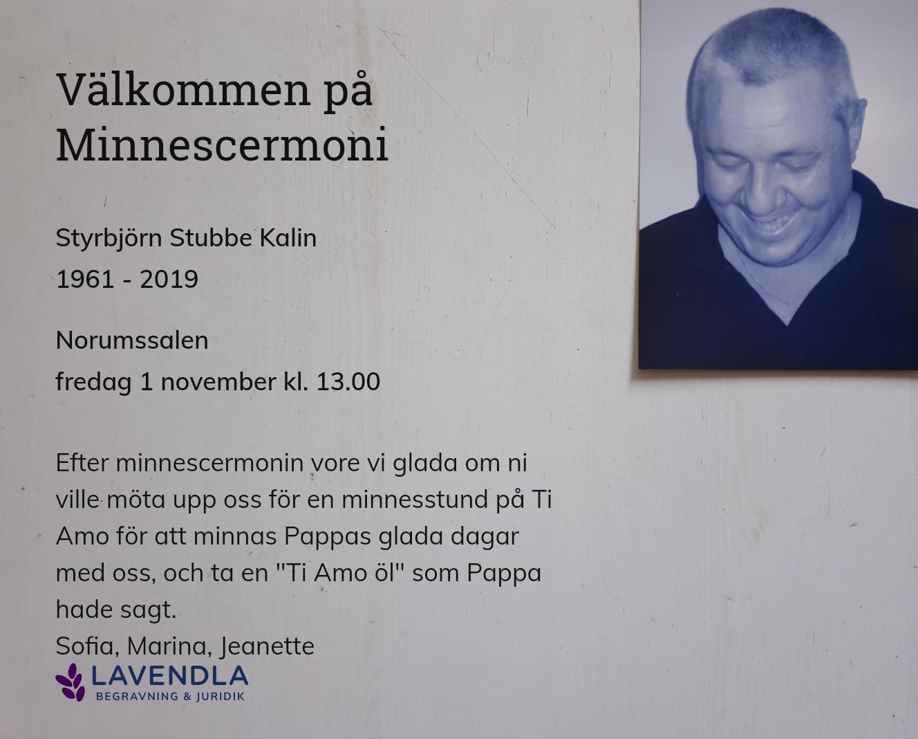 Inbjudningskort till ceremonin för Styrbjörn Stubbe Kalin