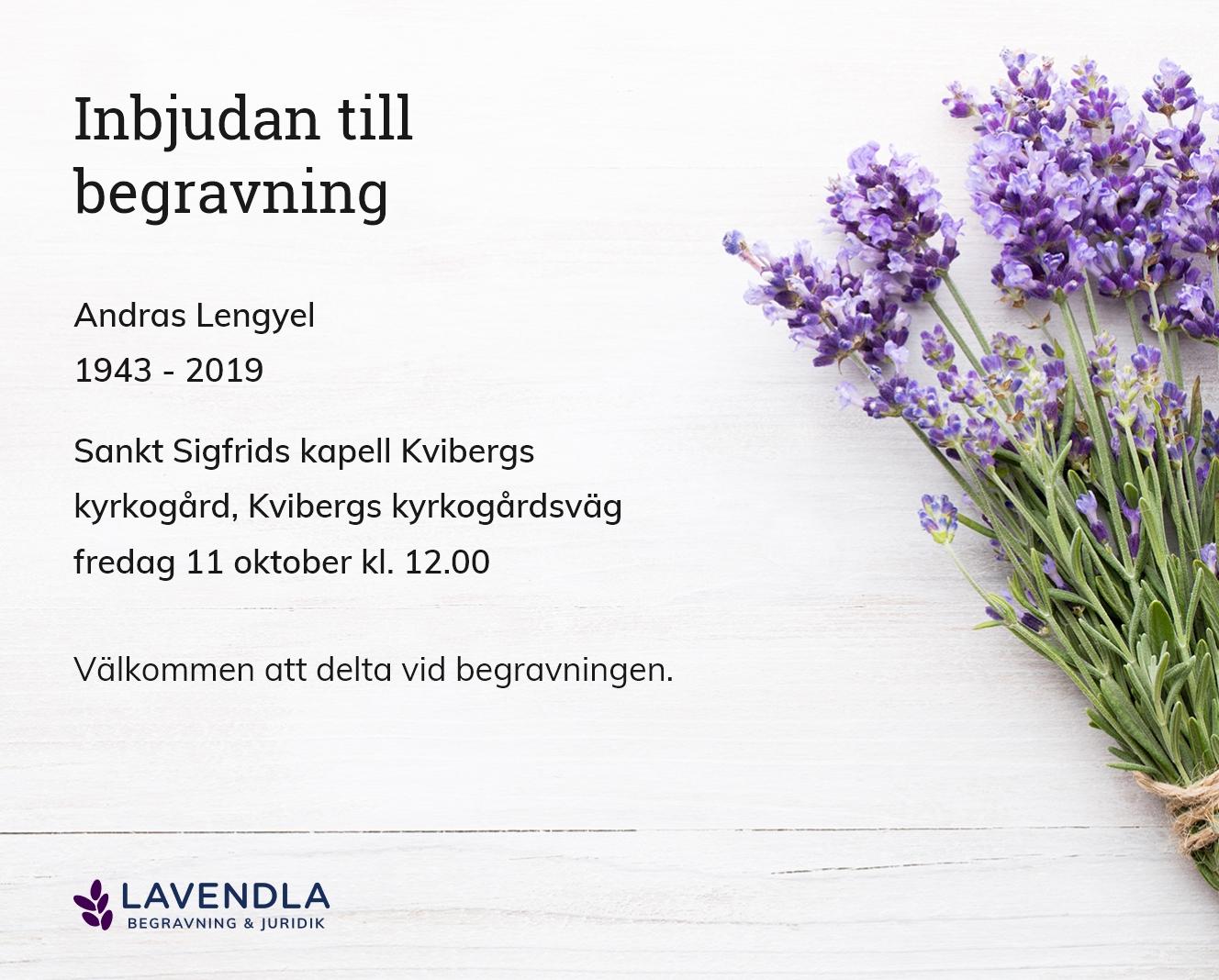 Inbjudningskort till ceremonin för Andras Lengyel