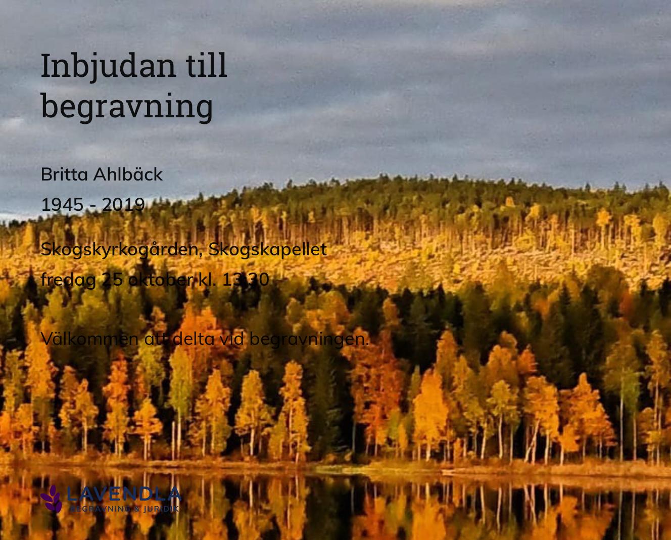 Inbjudningskort till ceremonin för Britta Ahlbäck
