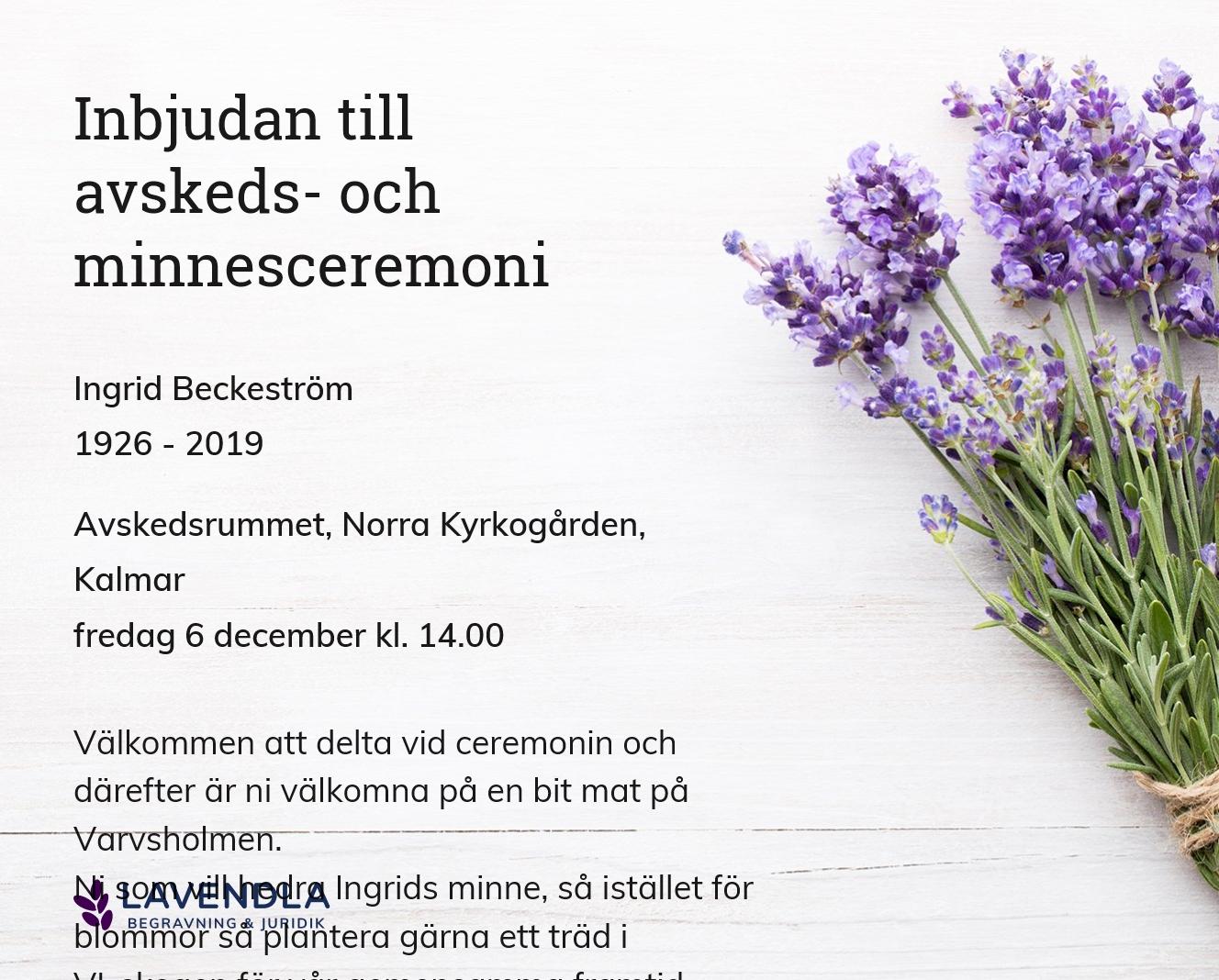Inbjudningskort till ceremonin för Ingrid Beckeström