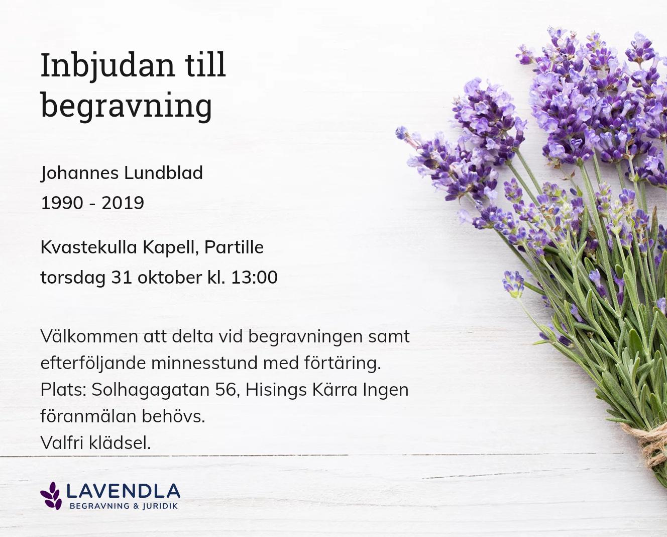 Inbjudningskort till ceremonin för Johannes Lundblad
