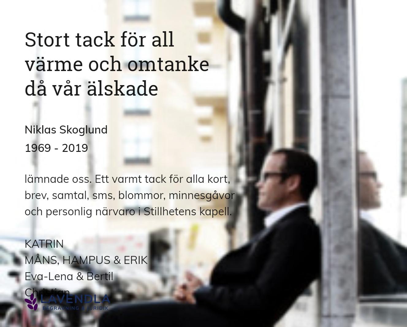 Inbjudningskort till ceremonin för Niklas Skoglund
