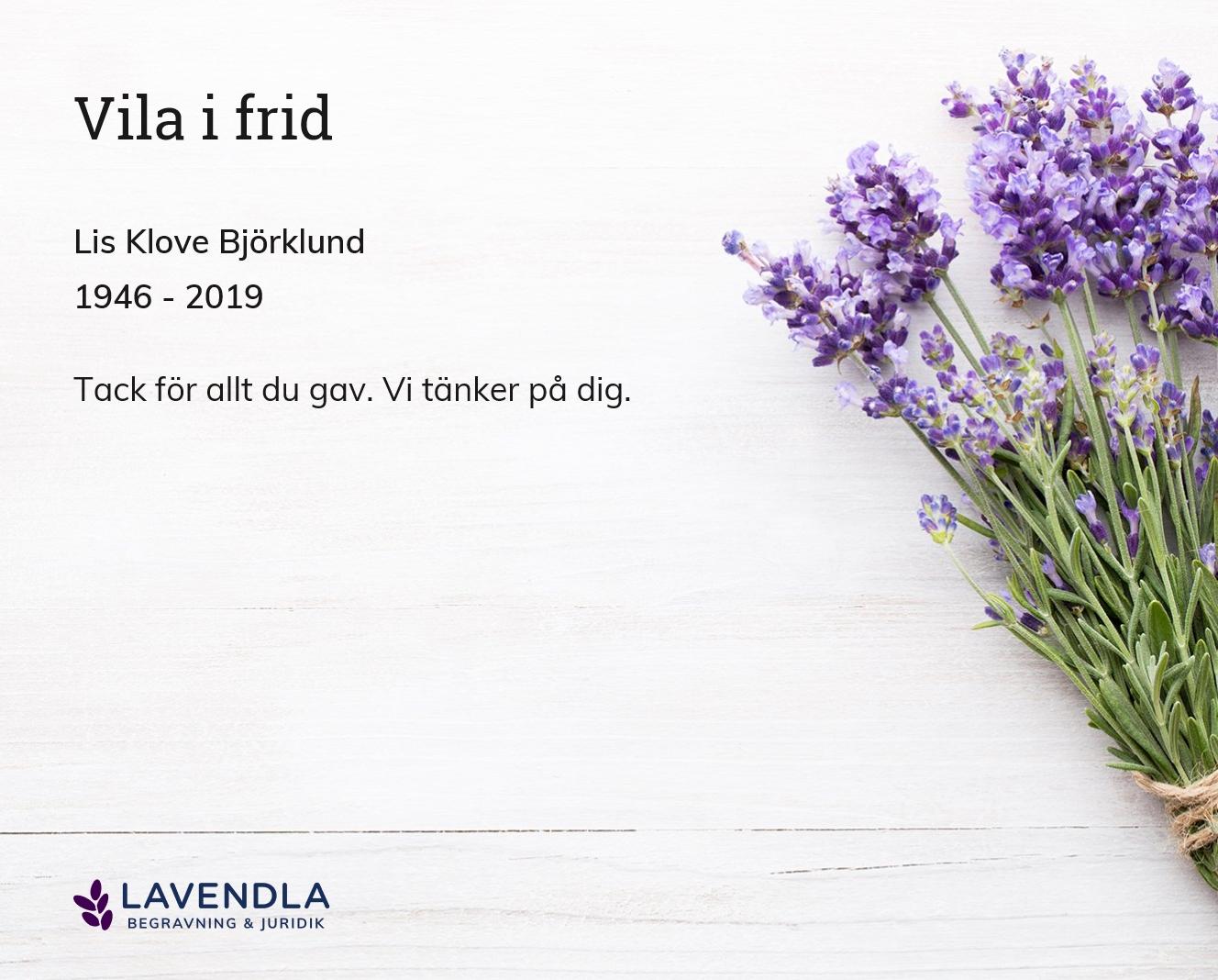 Inbjudningskort till ceremonin för Lis Klove Björklund