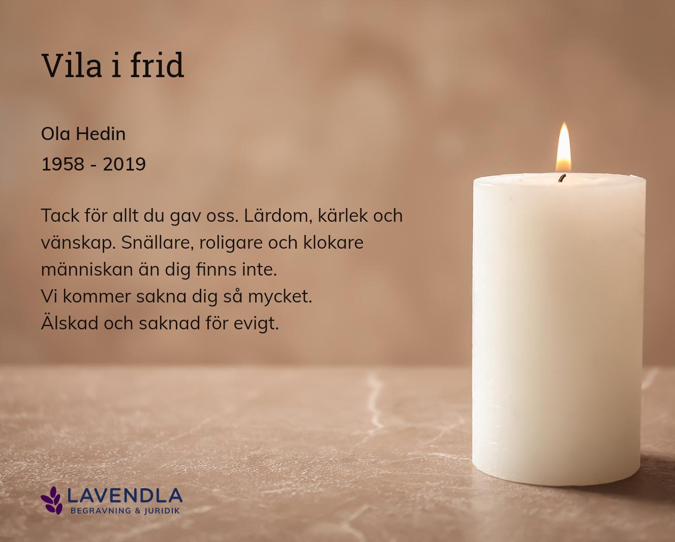 Inbjudningskort till ceremonin för Ola Hedin