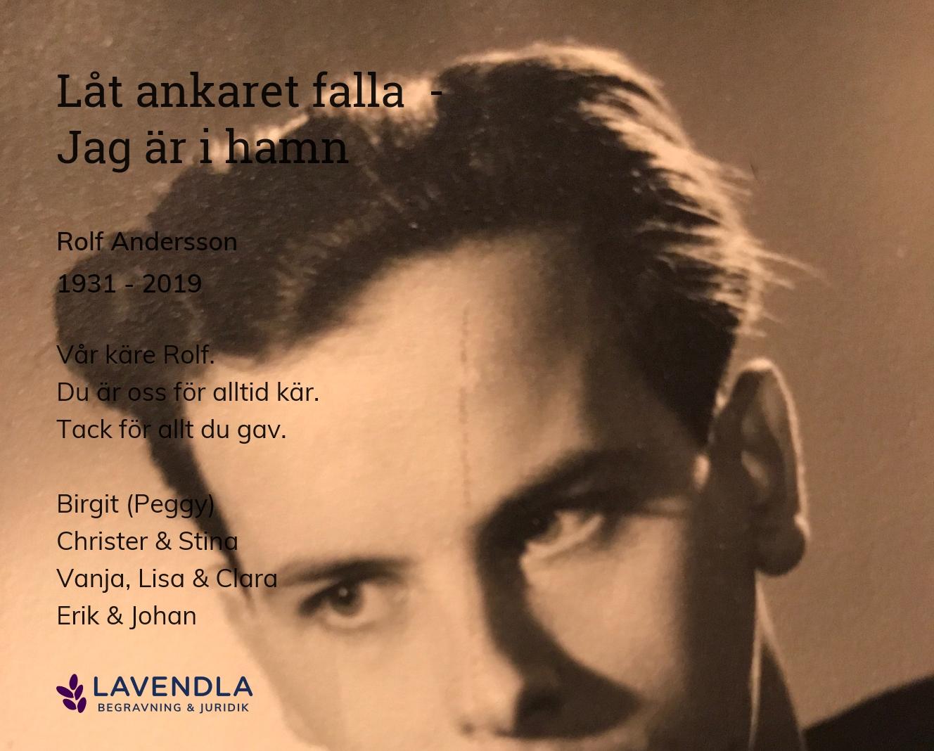 Inbjudningskort till ceremonin för Rolf Andersson