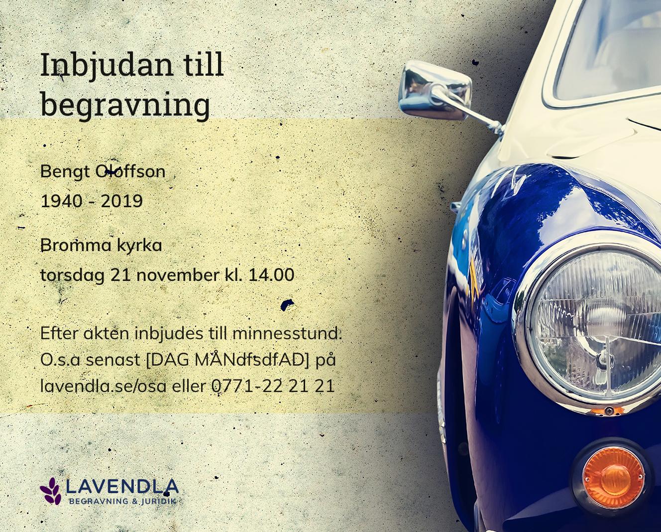 Inbjudningskort till ceremonin för Bengt Oloffson