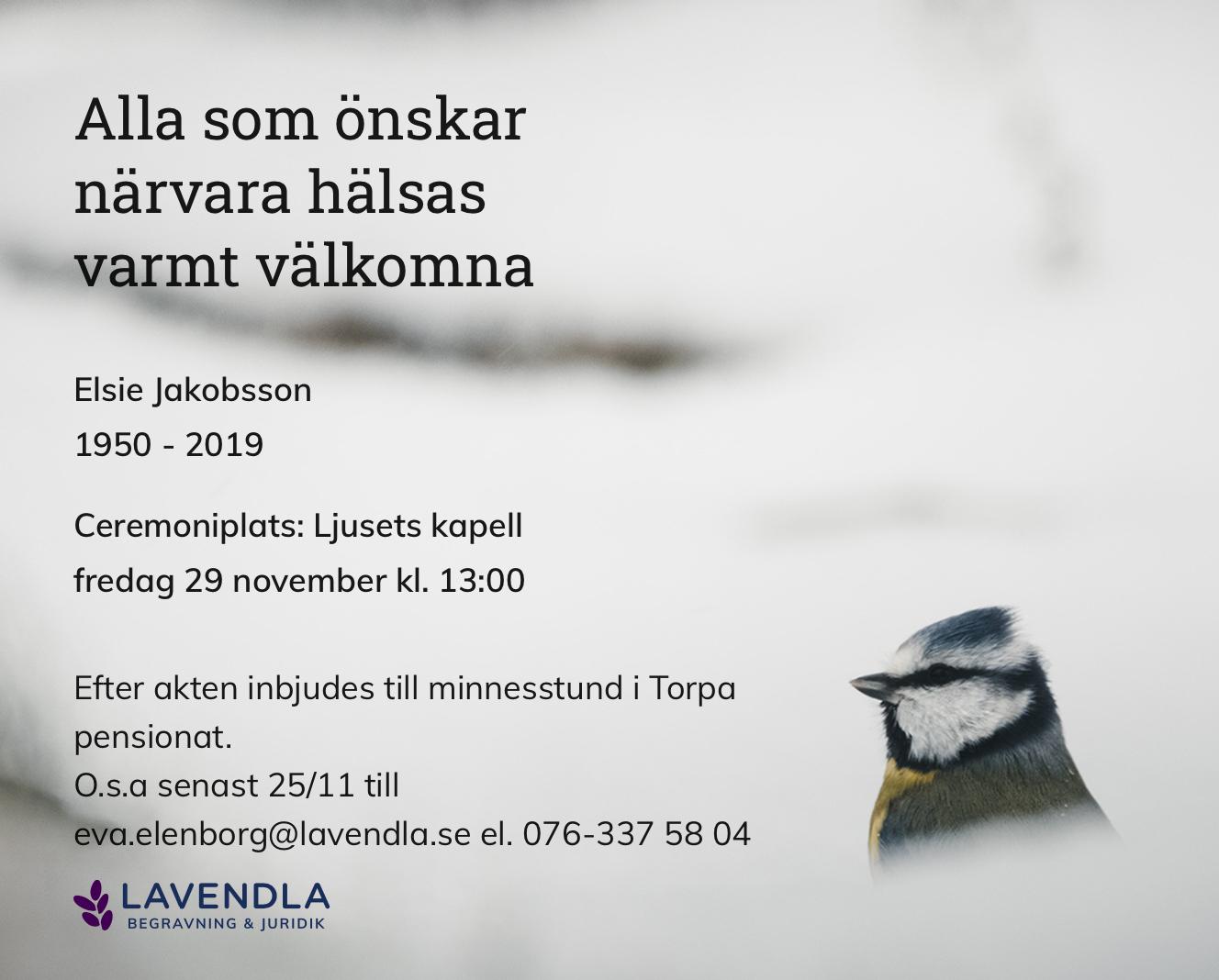 Inbjudningskort till ceremonin för Elsie Jakobsson