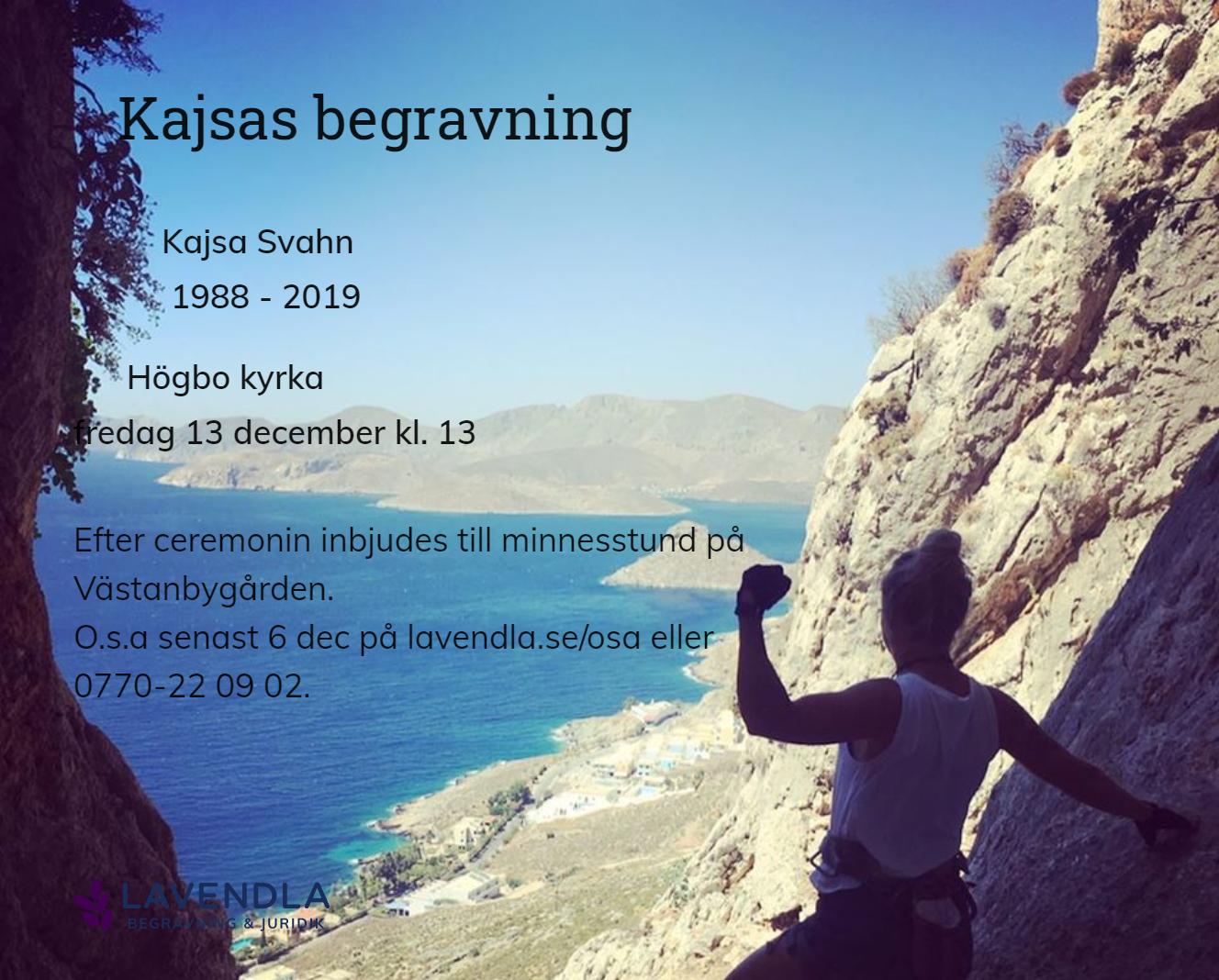 Inbjudningskort till ceremonin för Kajsa Svahn