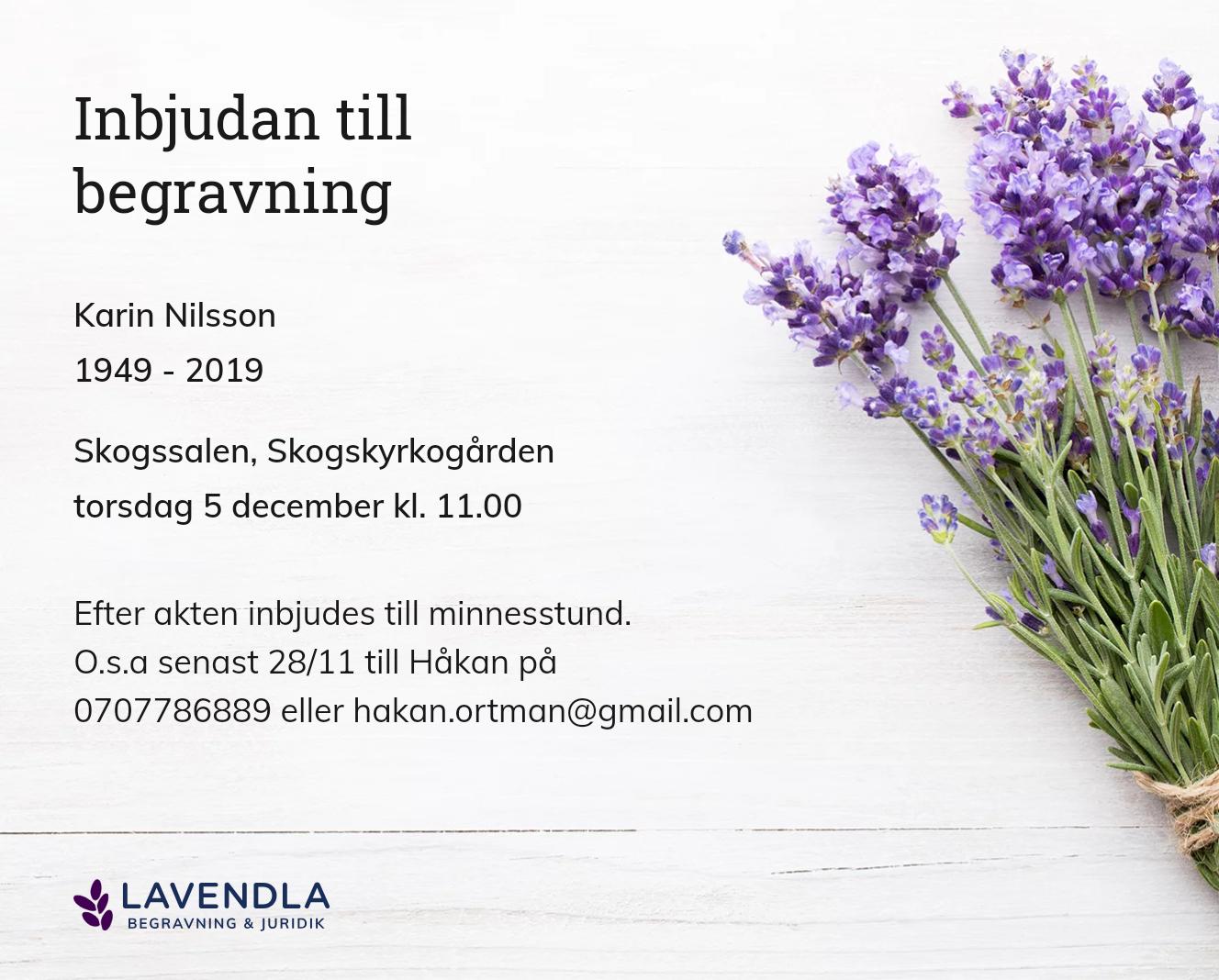 Inbjudningskort till ceremonin för Karin Nilsson