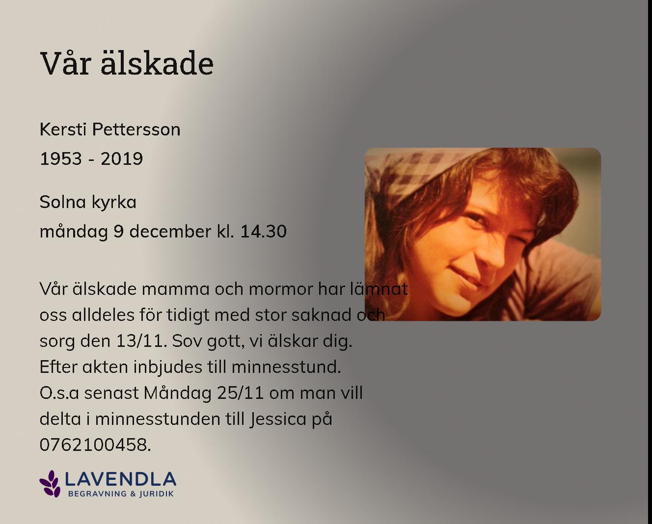 Inbjudningskort till ceremonin för Kersti Pettersson