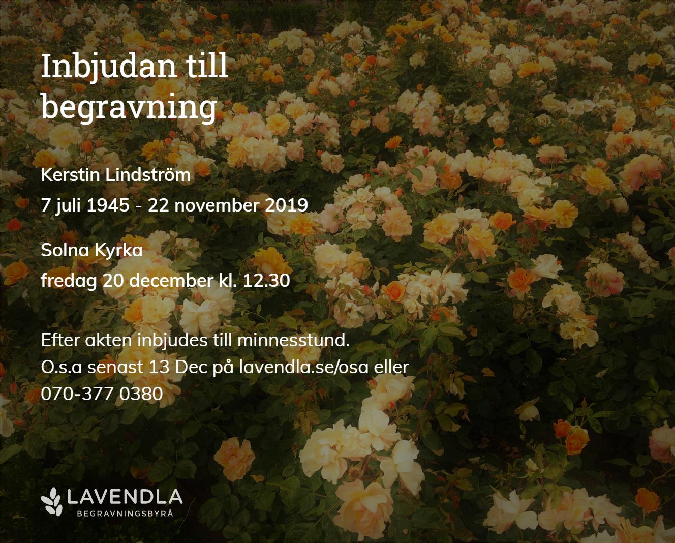 Inbjudningskort till ceremonin för Kerstin Lindström
