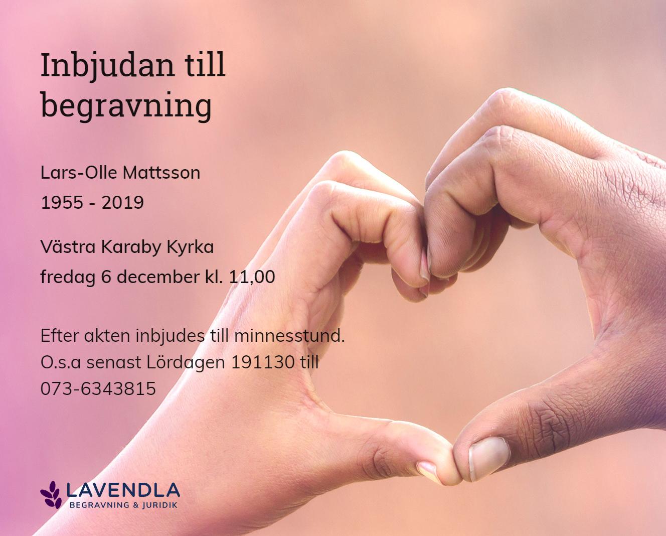 Inbjudningskort till ceremonin för Lars-Olle Mattsson