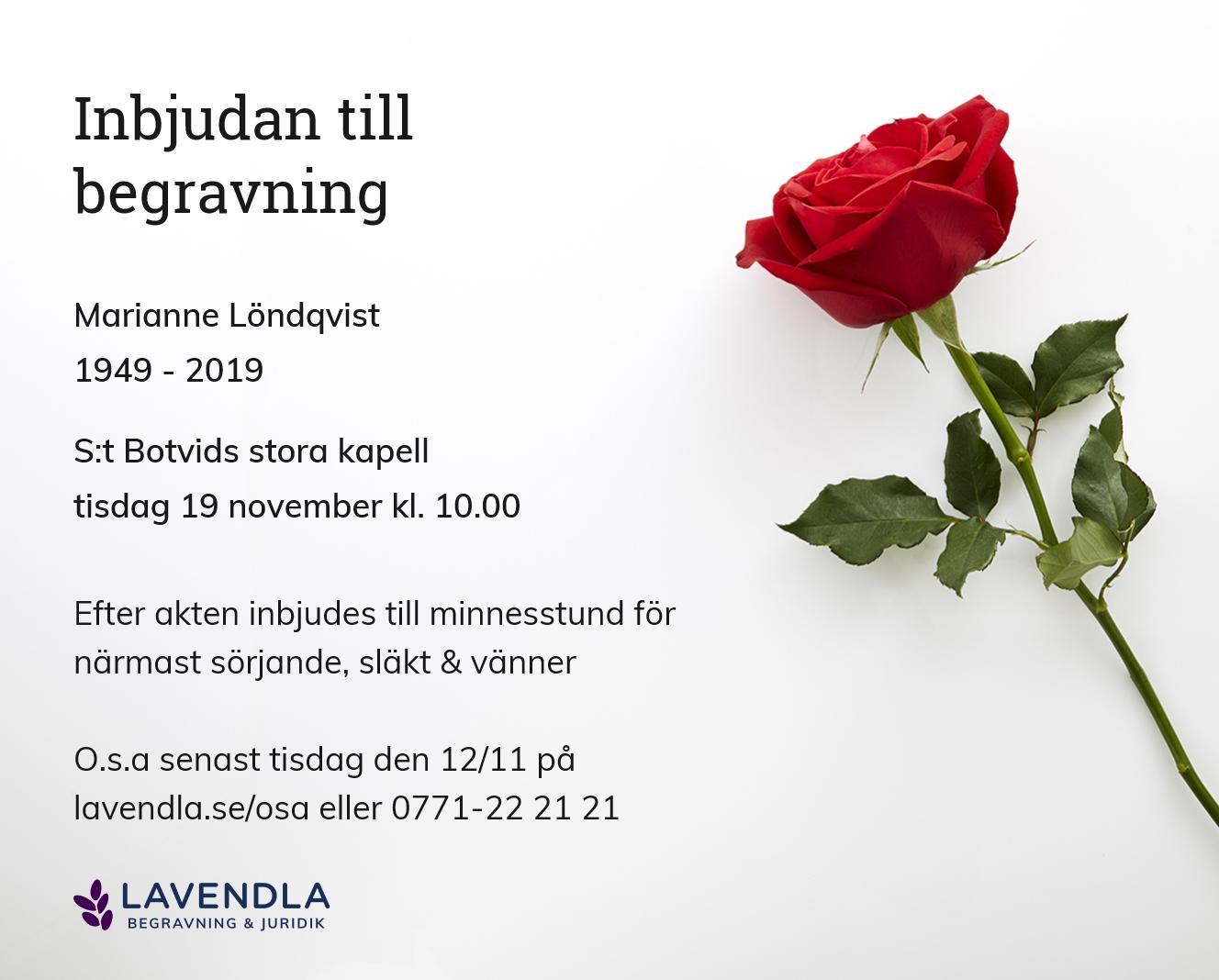Inbjudningskort till ceremonin för Marianne Löndqvist
