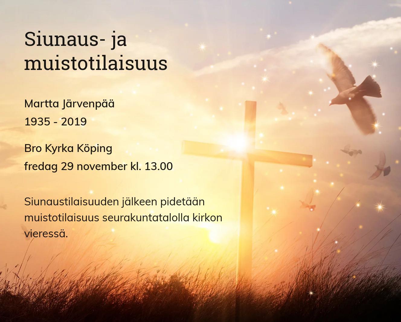 Inbjudningskort till ceremonin för Martta Järvenpää