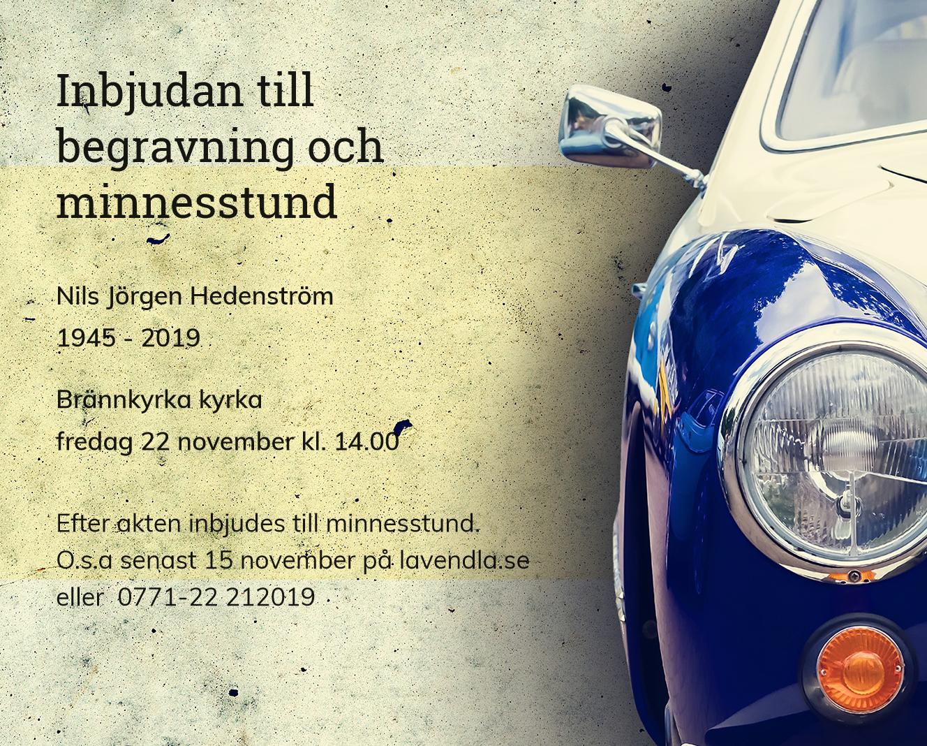 Inbjudningskort till ceremonin för Nils Jörgen Hedenström