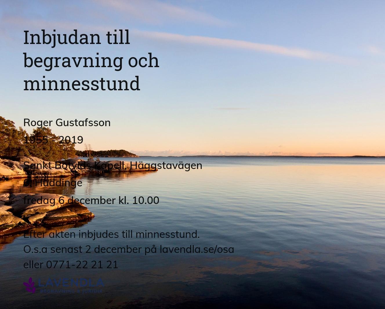 Inbjudningskort till ceremonin för Roger Gustafsson