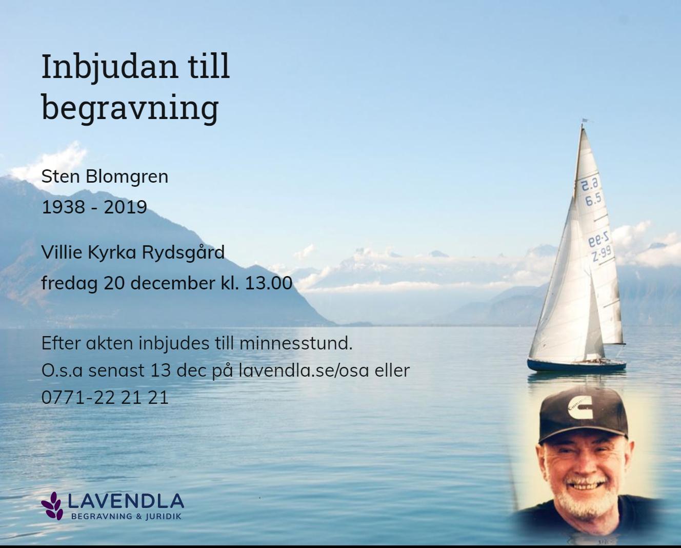 Inbjudningskort till ceremonin för Sten Blomgren