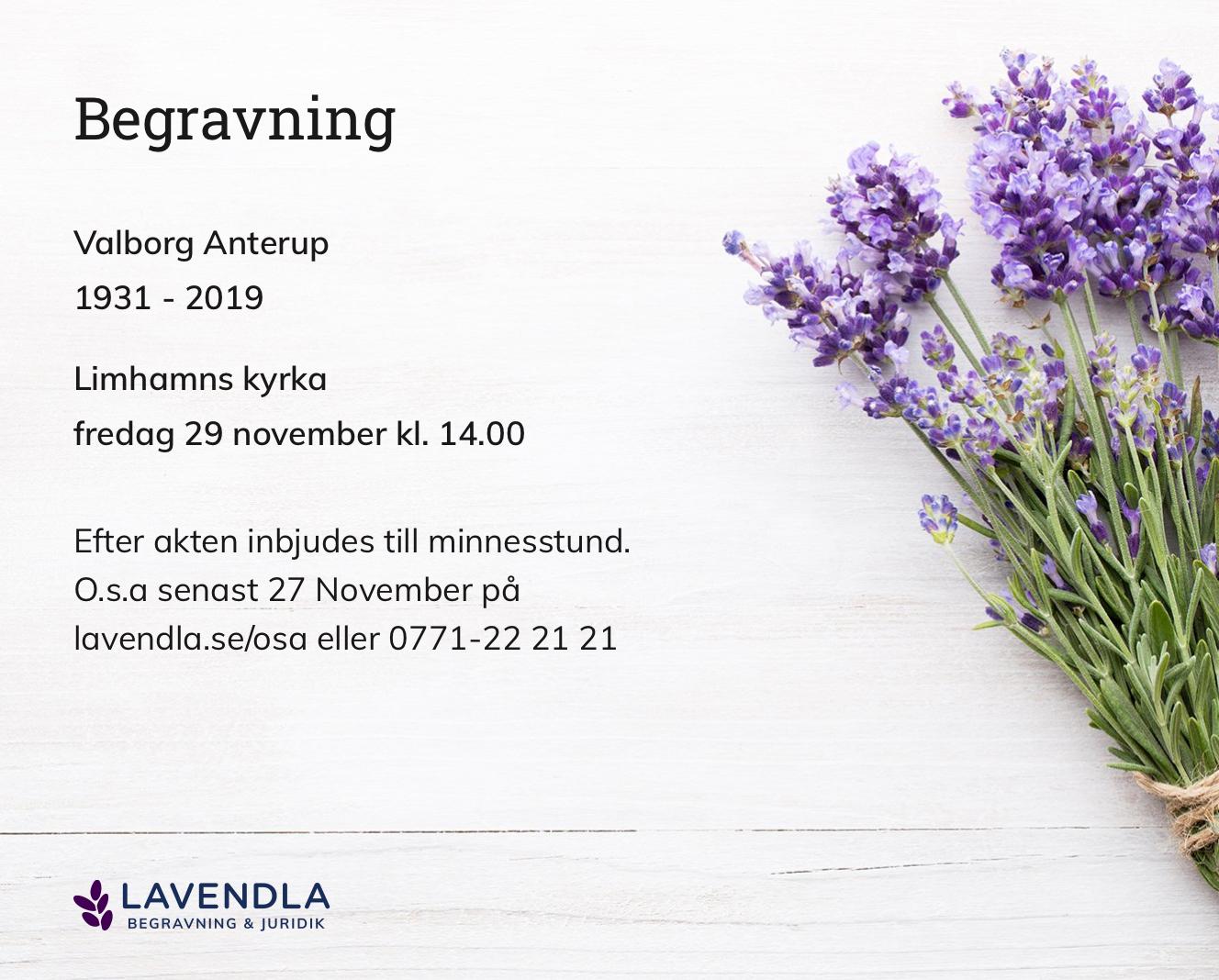 Inbjudningskort till ceremonin för Valborg Anterup