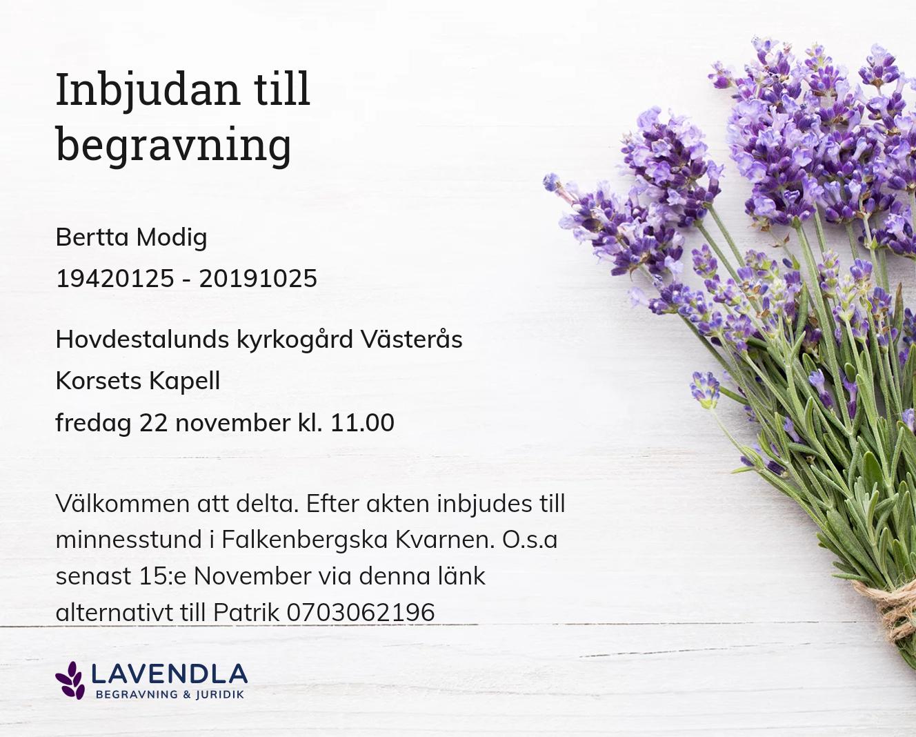 Inbjudningskort till ceremonin för Bertta Modig