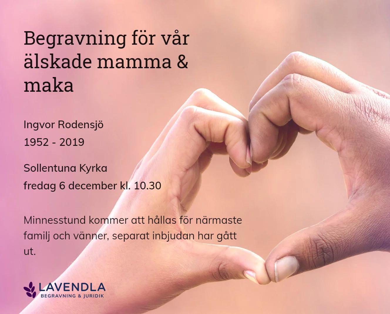 Inbjudningskort till ceremonin för Ingvor Rodensjö