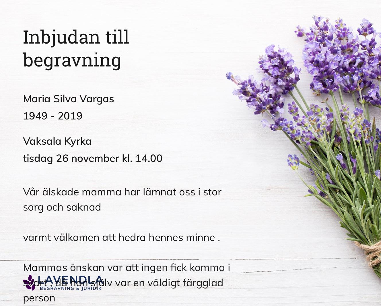 Inbjudningskort till ceremonin för Maria Silva Vargas