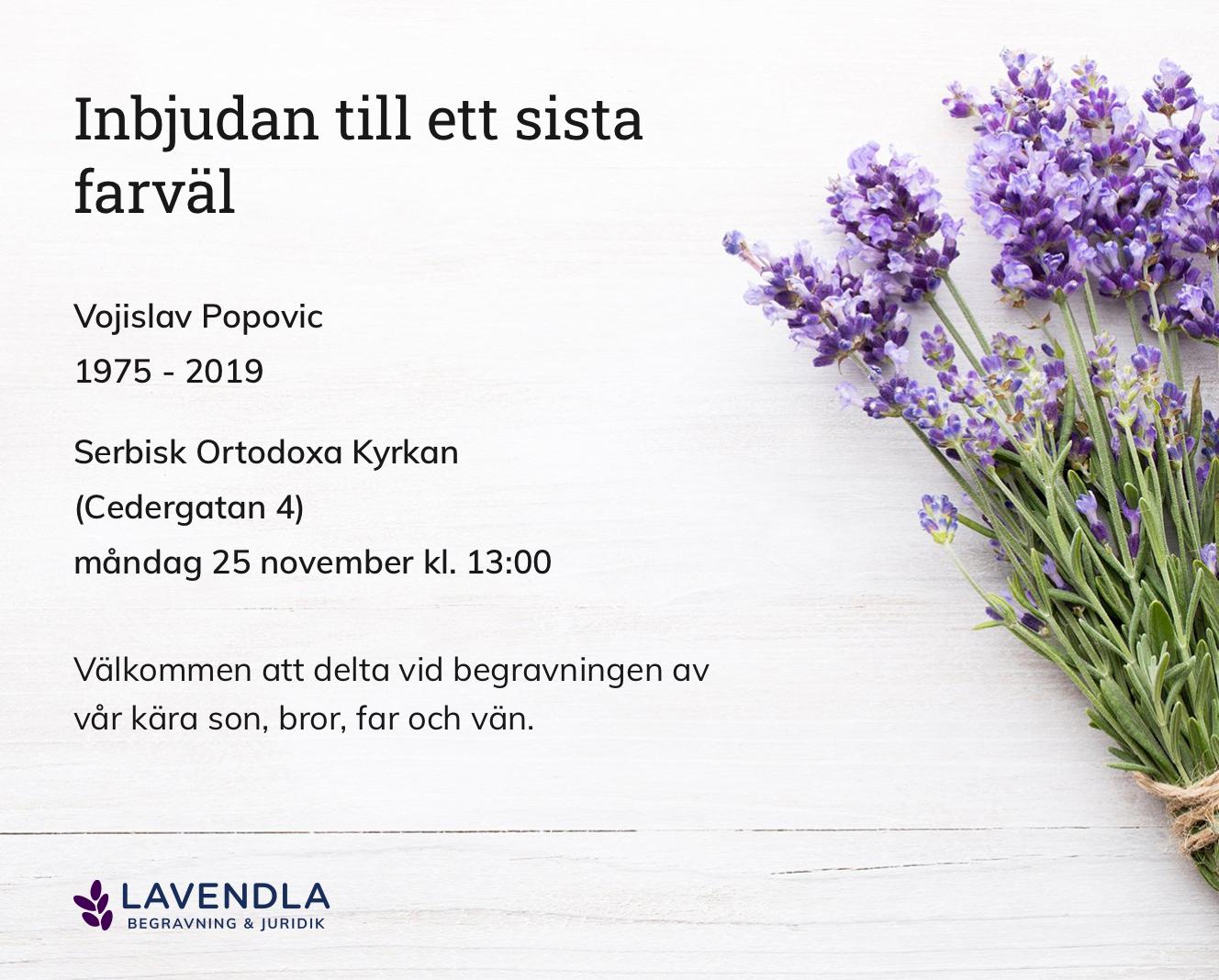 Inbjudningskort till ceremonin för Vojislav Popovic