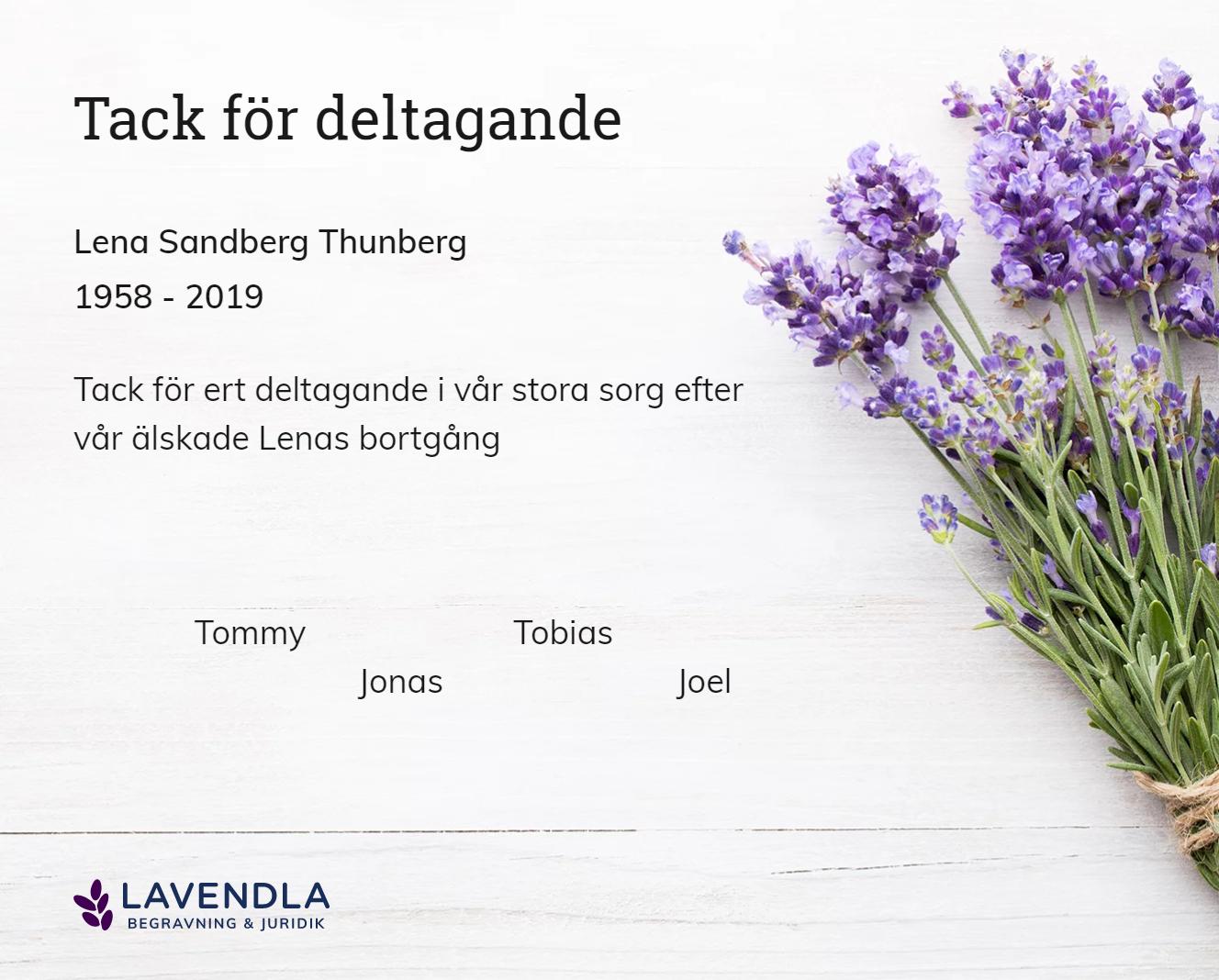 Inbjudningskort till ceremonin för Lena Sandberg Thunberg