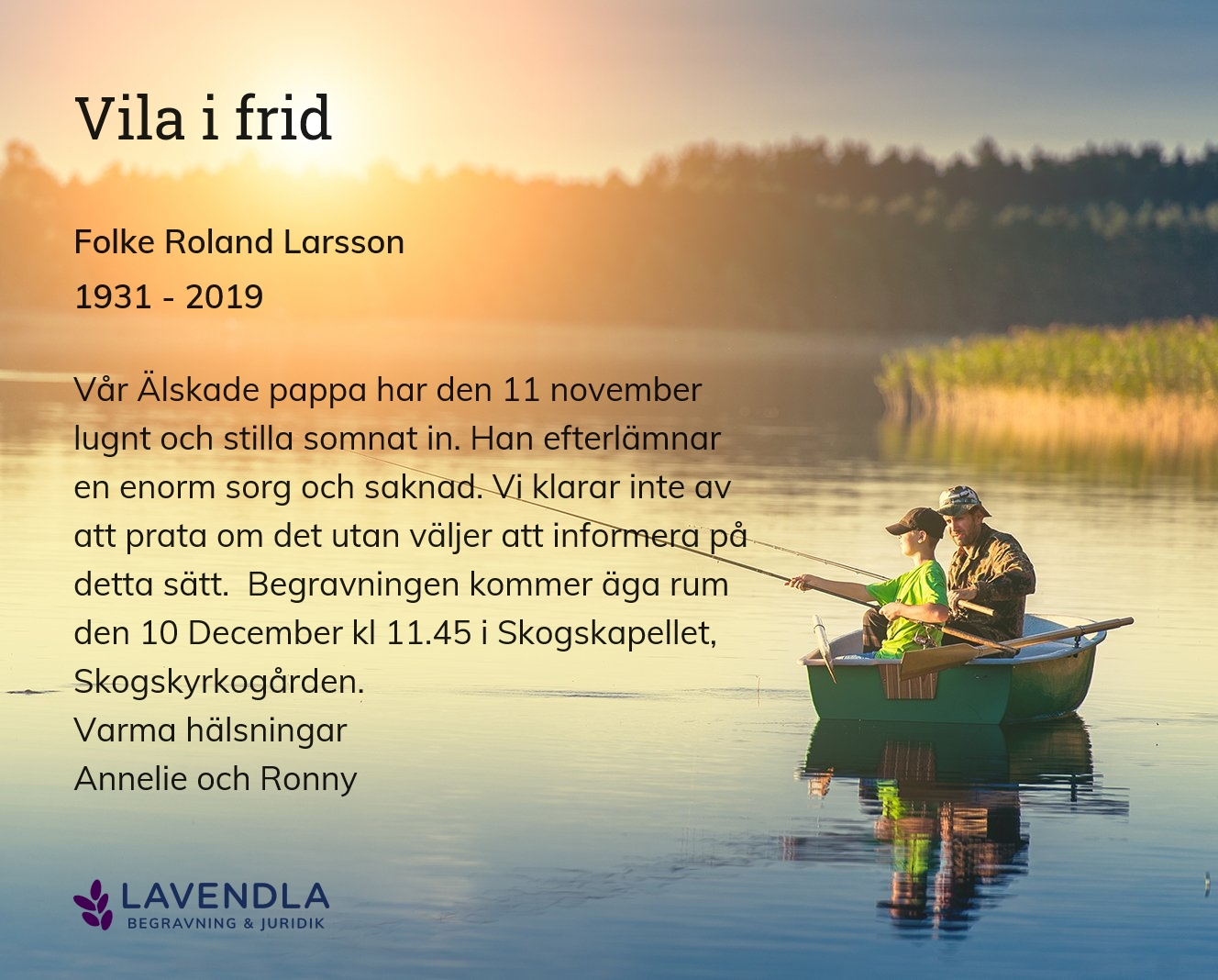 Inbjudningskort till ceremonin för Folke Roland Larsson