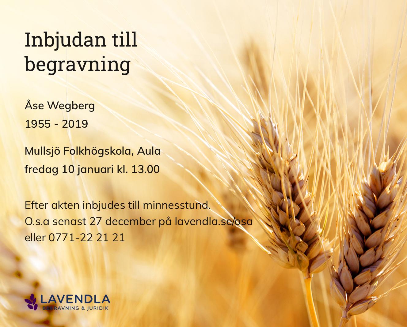 Inbjudningskort till ceremonin för Åse Wegberg