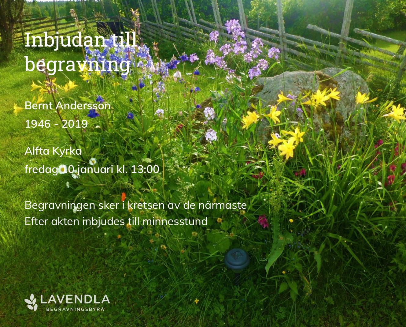 Inbjudningskort till ceremonin för Bernt Andersson