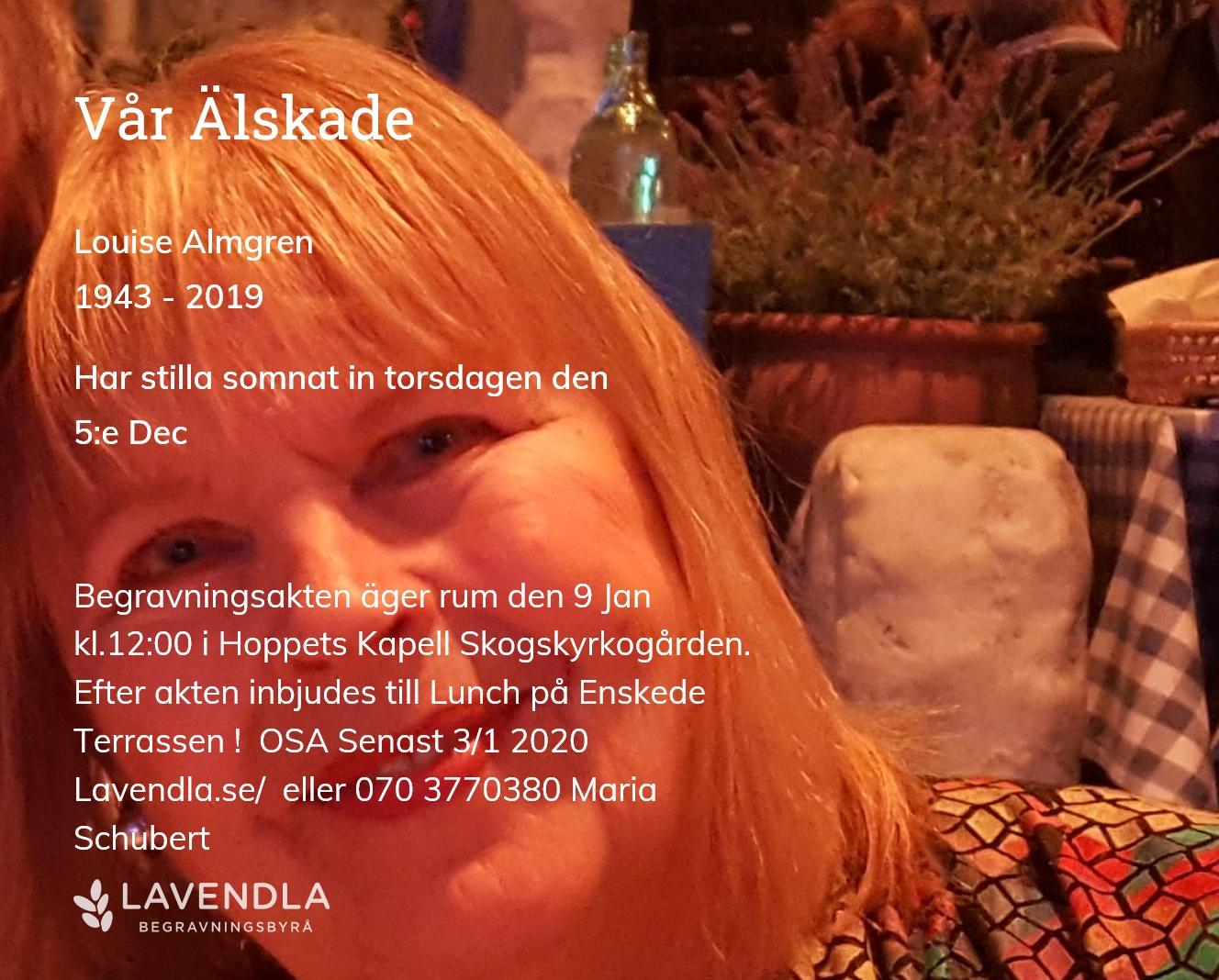 Inbjudningskort till ceremonin för Louise Almgren