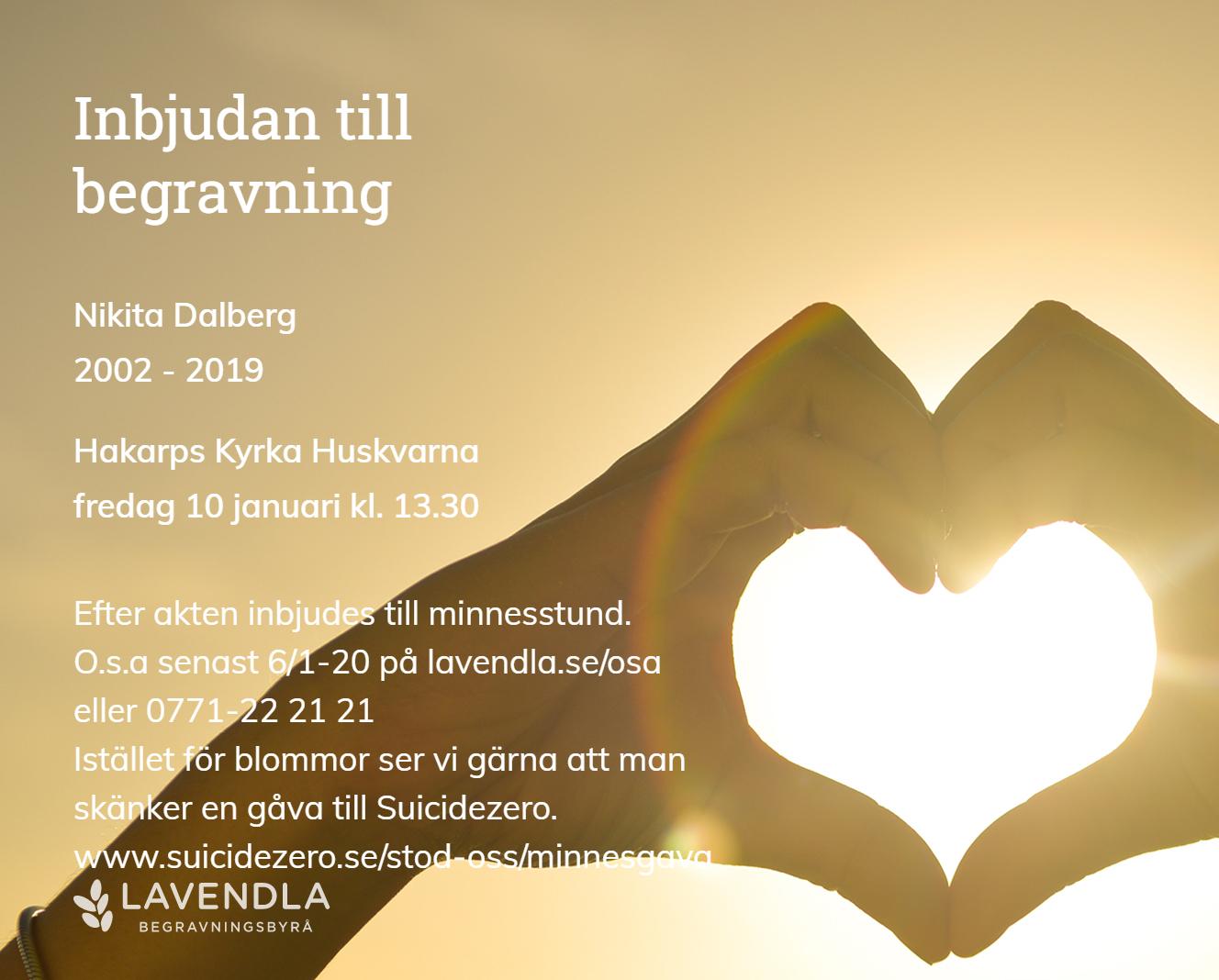 Inbjudningskort till ceremonin för Nikita Dalberg