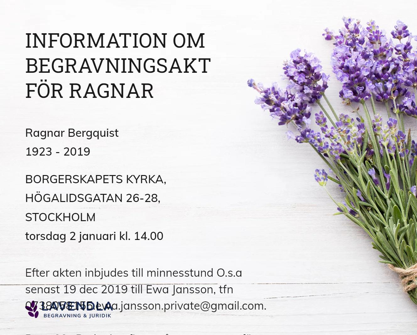 Inbjudningskort till ceremonin för Ragnar Bergquist