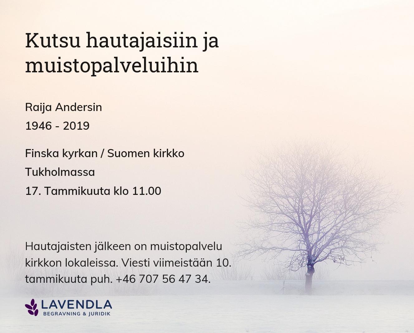 Inbjudningskort till ceremonin för Raija Andersin