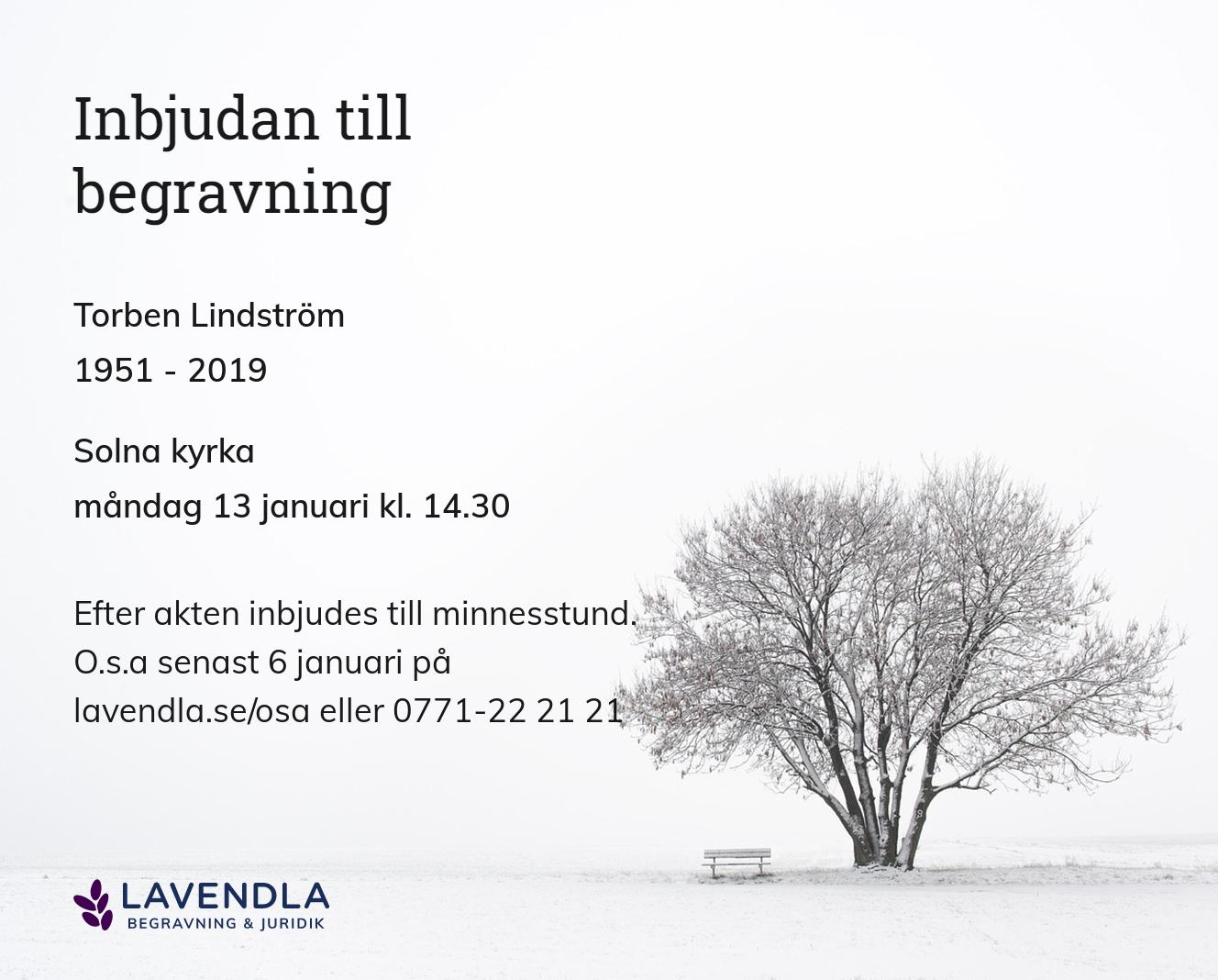 Inbjudningskort till ceremonin för Torben Lindström