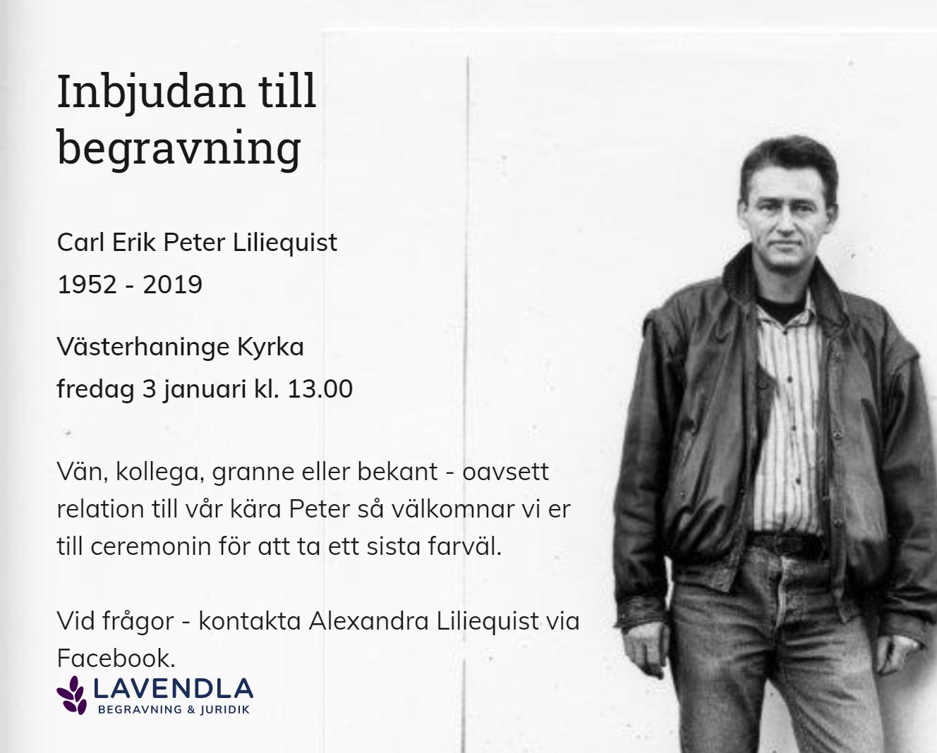 Inbjudningskort till ceremonin för Carl Erik Peter Liliequist