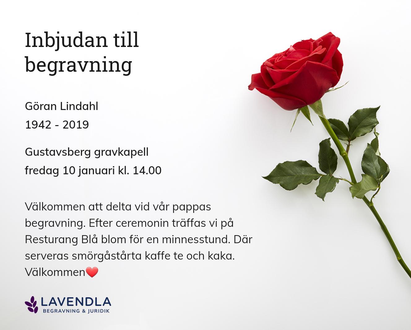 Inbjudningskort till ceremonin för Göran Lindahl