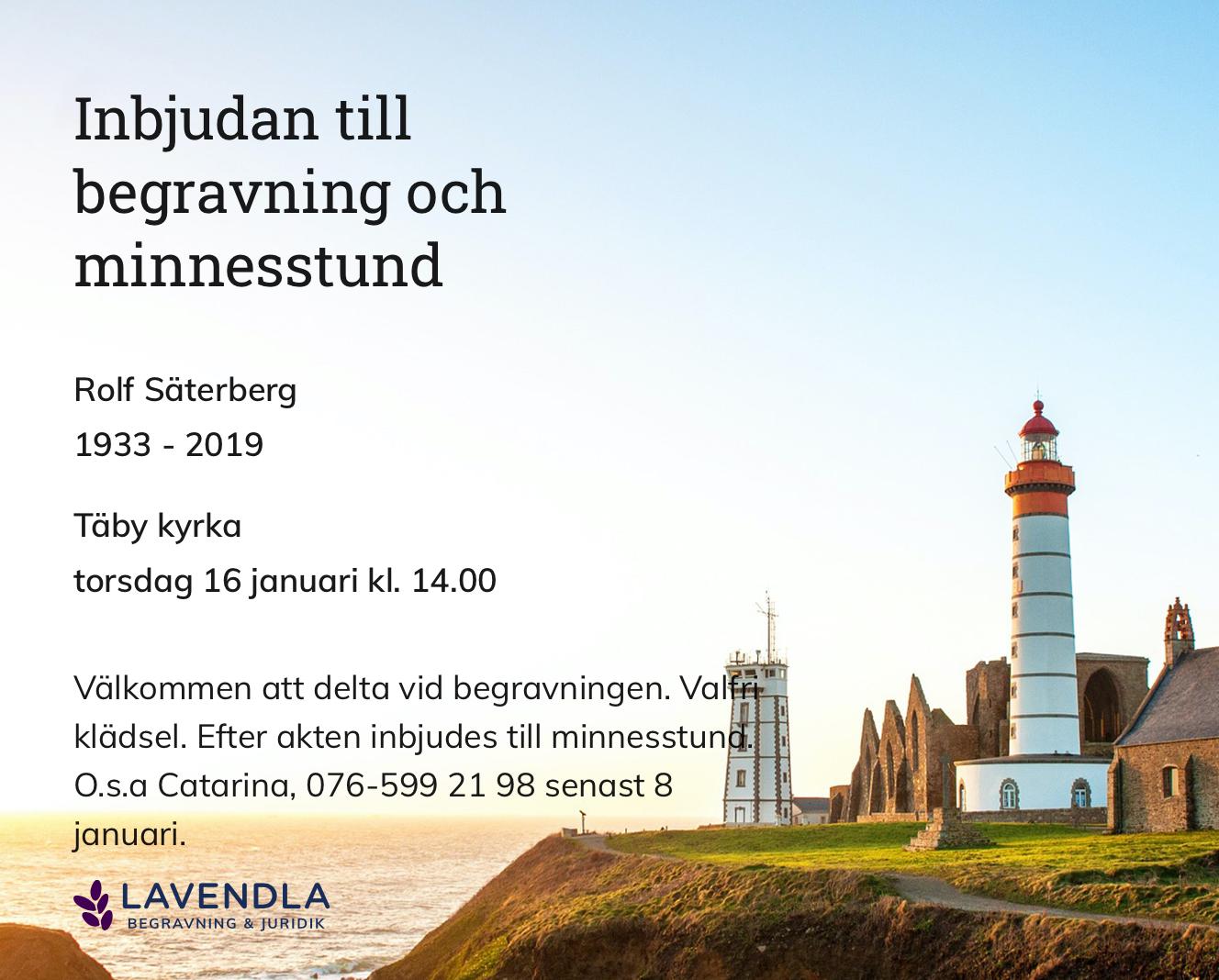 Inbjudningskort till ceremonin för Rolf Säterberg