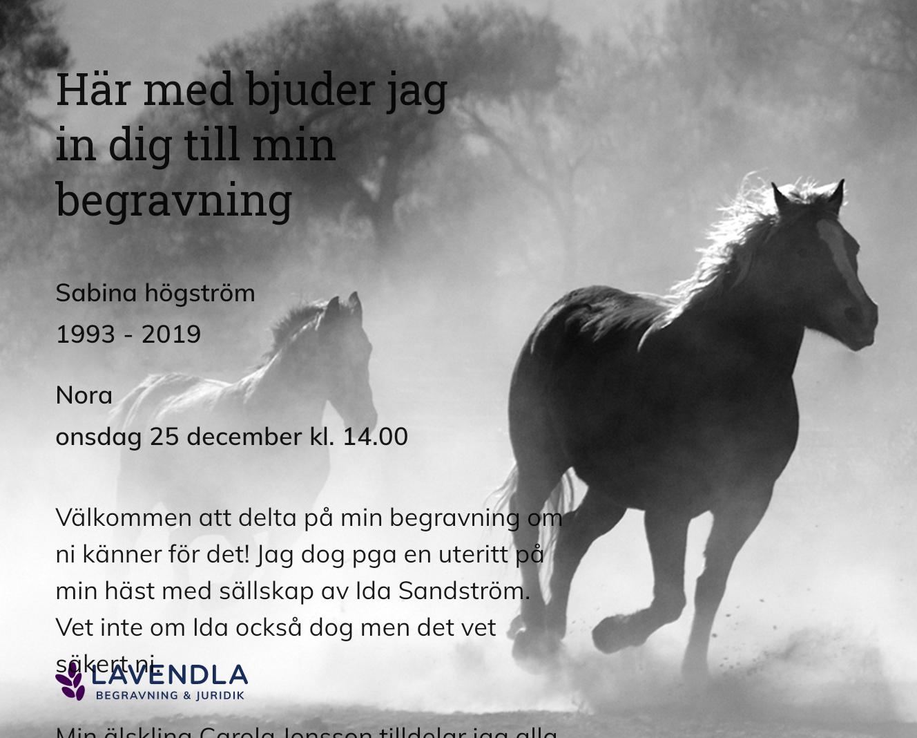Inbjudningskort till ceremonin för Sabina högström