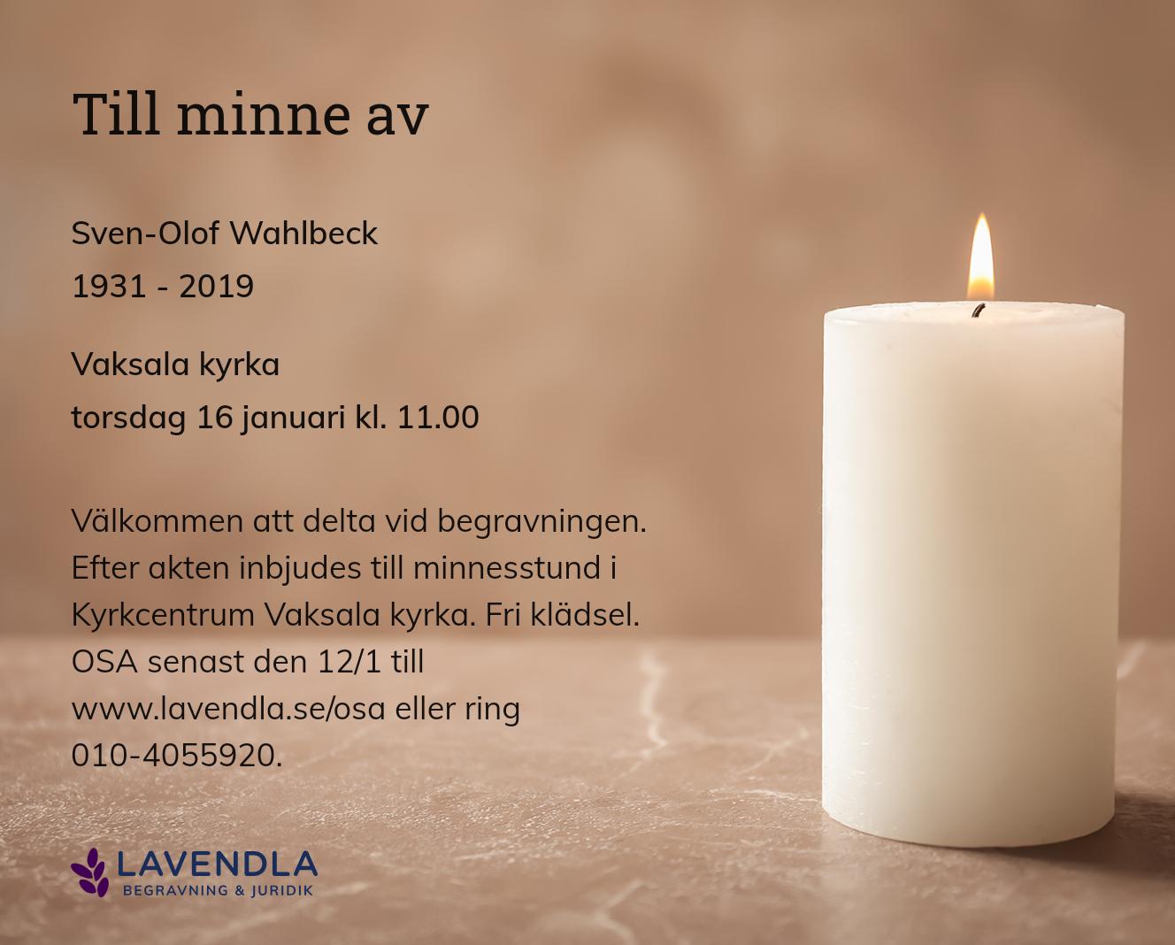 Inbjudningskort till ceremonin för Sven-Olof Wahlbeck