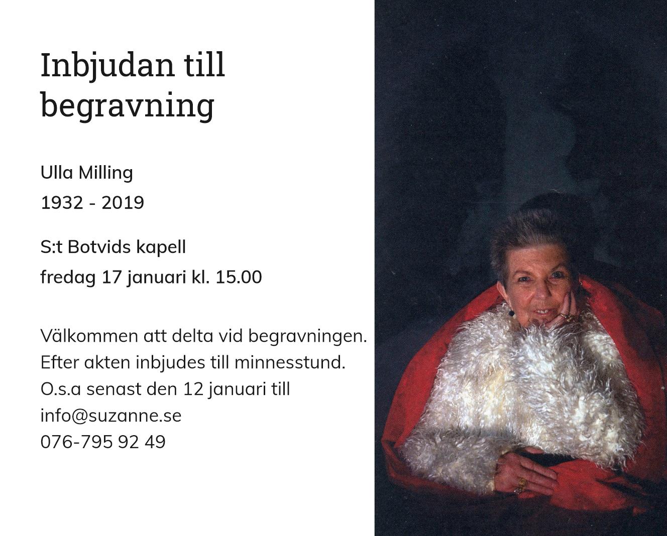 Inbjudningskort till ceremonin för Ulla Milling