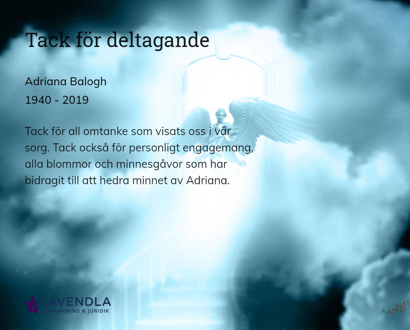 Inbjudningskort till ceremonin för Adriana Balogh