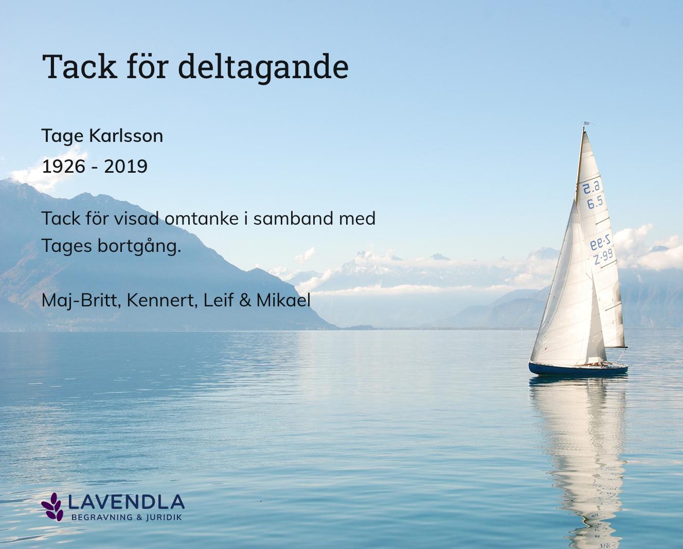 Inbjudningskort till ceremonin för Tage Karlsson