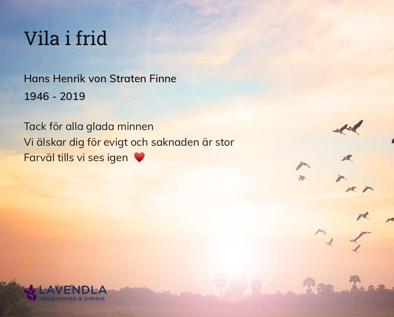 Inbjudningskort till ceremonin för Hans Henrik von Straten Finne