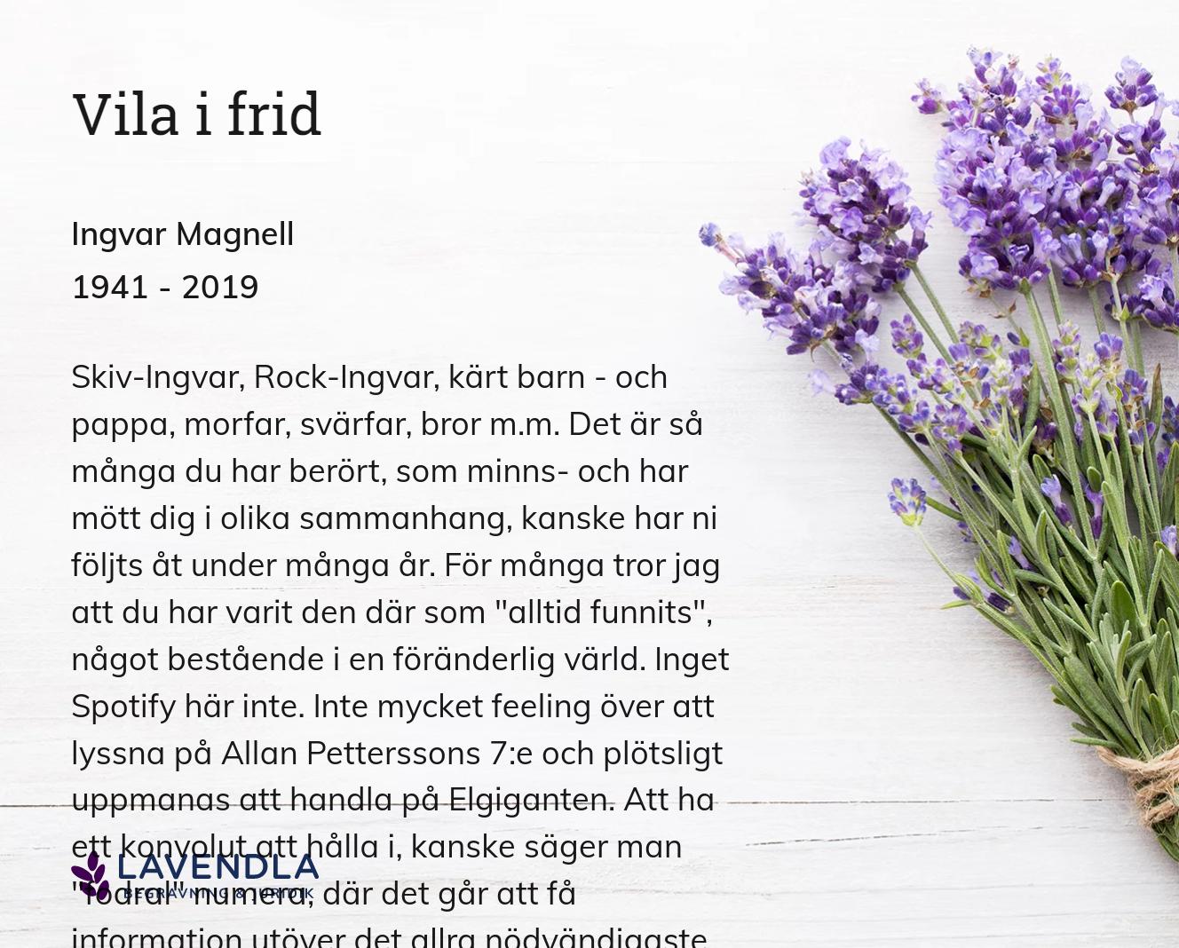 Inbjudningskort till ceremonin för Ingvar Magnell
