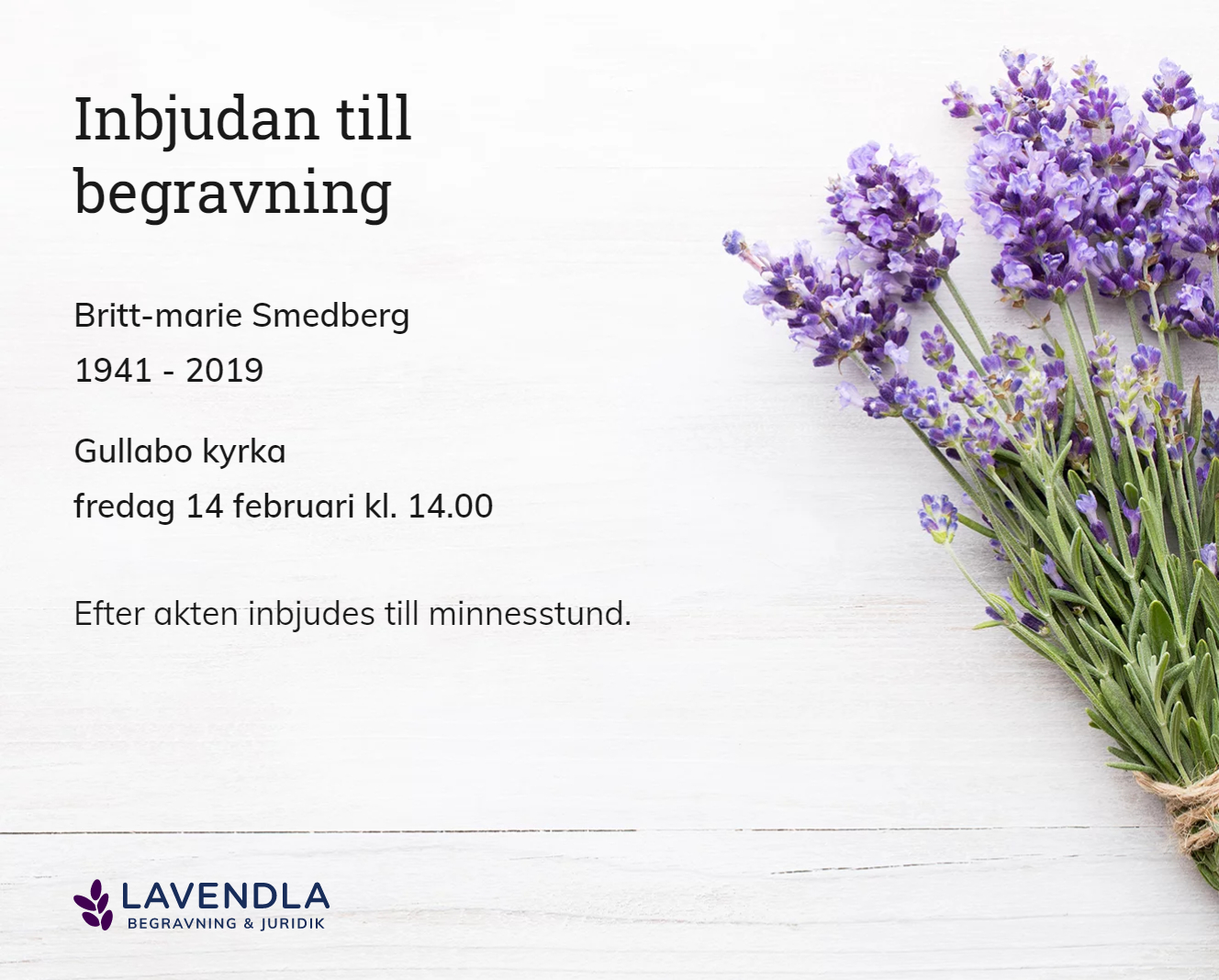 Inbjudningskort till ceremonin för Britt-marie Smedberg