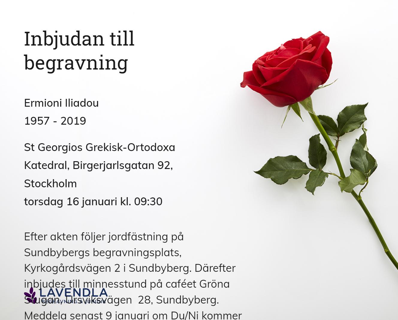 Inbjudningskort till ceremonin för Ermioni Iliadou
