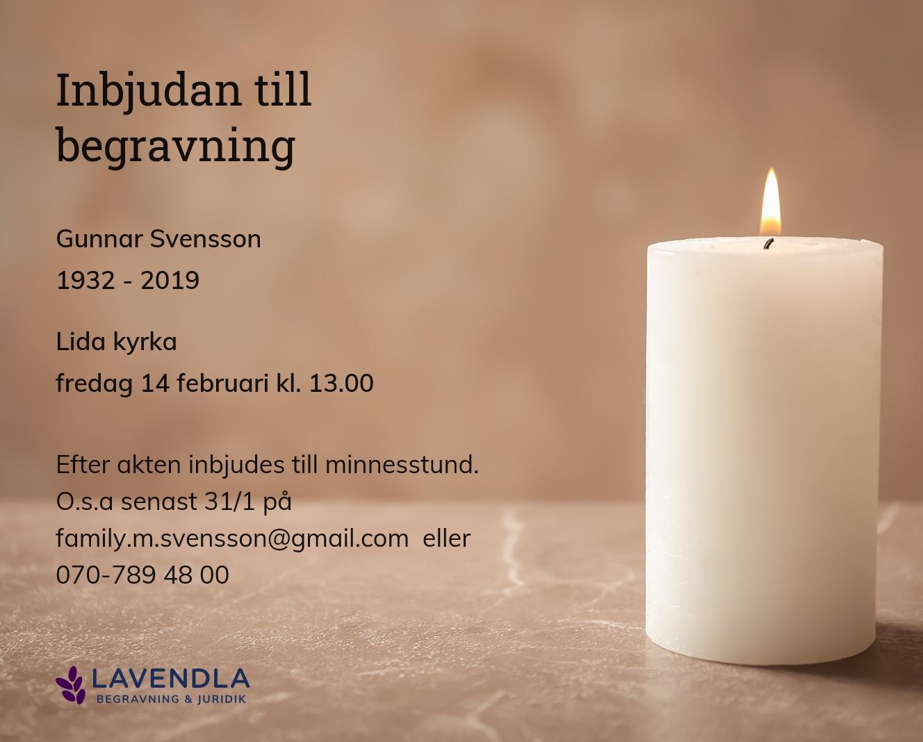 Inbjudningskort till ceremonin för Gunnar Svensson