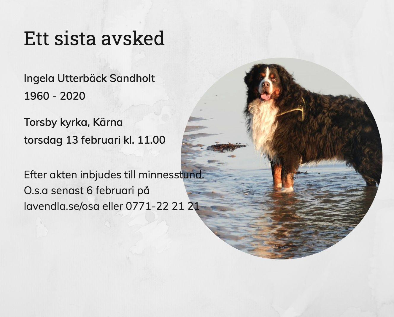 Inbjudningskort till ceremonin för Ingela Utterbäck Sandholt